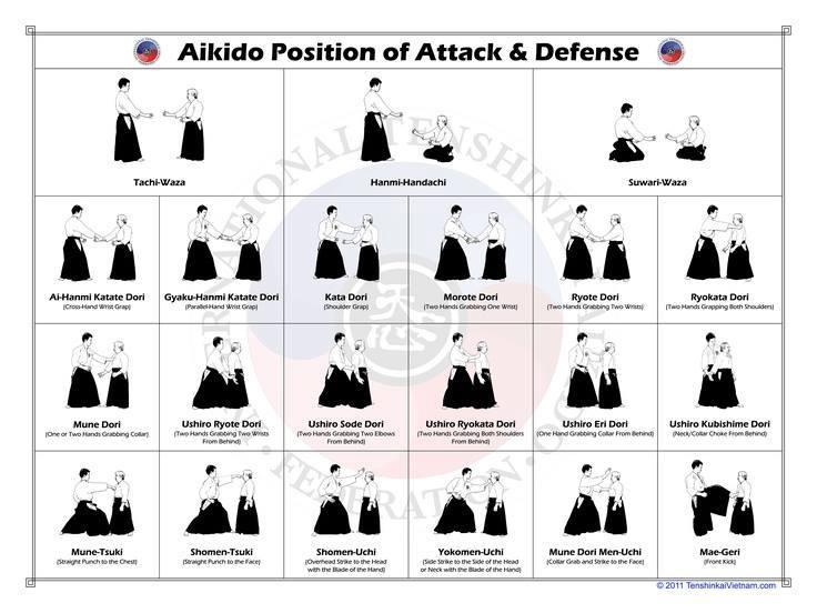 Айкидо. Позиции. Атаки